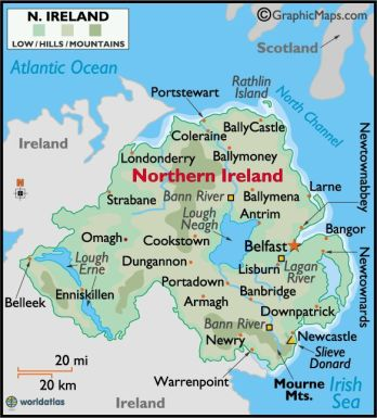 North of Ireland Map